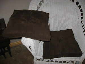2 BROWN CHAIR CUSHIONS