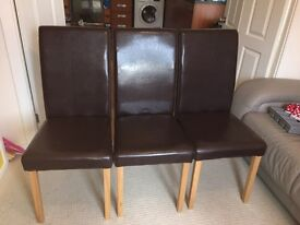 Three Brown Faux leather dining chair