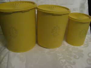 3 Vintage  1970's Yellow Tupperware Tupperware Ware Canisters