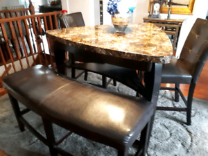 Dining table,bench and 2 bar height chairs