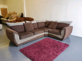 Grey Brown Fabric Corner Sofa - delivery available