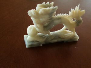 Beautiful carved  dragon on natural stone