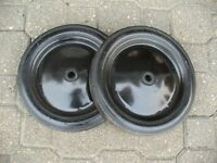 2 solid rubber and steel wheels