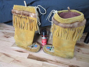 Moccasins Leather Suede Boots  Hand-made, Authentic