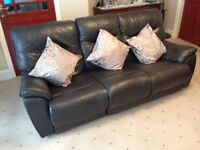Two piece leather sofa.