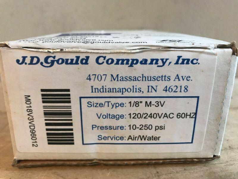 "JD GOULD AIR / WATER SOLENOID VALVE 1/8"" 10-250-PSI M-3V"
