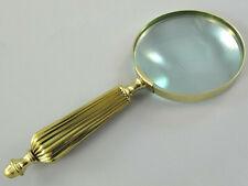 Dm 10cm //4 Lupe aus Glas ca 24cm lang Lupeneinfassung und Griff aus Messing