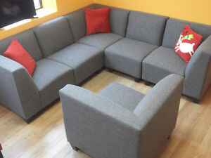 BEAUTIFUL 6 PIECE GREY MODULAR COUCHES - USED 3 WEEKS London Ontario image 1