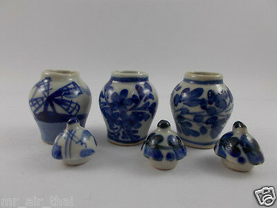 Antique Miniature Vintage Furniture Chinese Dollhouse Vase Jar Pot Lot Doll 3pc