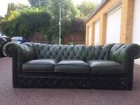Green chesterfield three seater free London delivery
