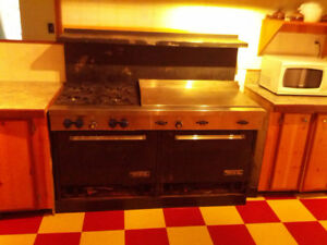 commercial cook stove and range hood