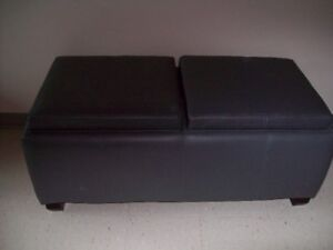 GREY LEATHER OTTOMAN FOR SALE