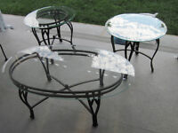 3pc Coffee & End tables - metal & glass