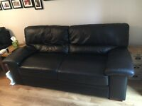 Black leather sofa 2 & 3 seater
