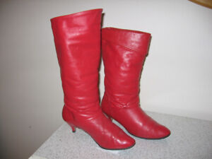 Red leather boots