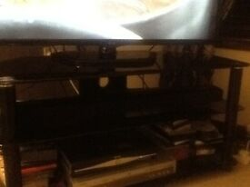 Black Gass 3 tier TV cabinet