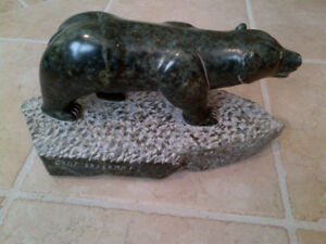 "Inuit Stone Carving rare ""The Polar Bear"" artist BRAXRMMX"