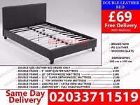 BRAND NEW SINGLE KING SIZE AND DOUBLE LEATHER BED Available with Mattress Rosston