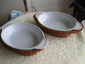 """PAIR of """"OVEN-to-TABLE"""" CASSEROLE DISHES with FITTED BASKETS"""