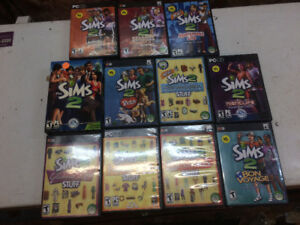 The Sims 2 PC video game and 10 expansion modules.