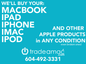 WE BUY MACBOOKS, IPADS, IPHONES, IPODS, APPLE WATCHES, AND OTHER
