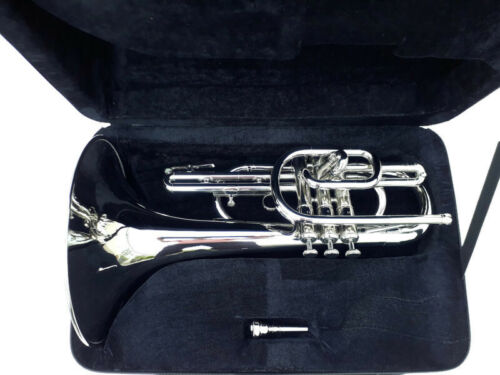 MARCHING MELLOPHONE NICKEL PLATED WITH HARD CASE+MOUTHPIECE+FAST SHIPPING
