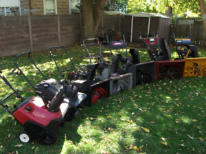 Assorted snowblowers ready for snow