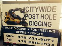 Post Holes and Deck Footings 416-721-9971