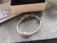 Pandora pave barrel clasp bracelet and charms
