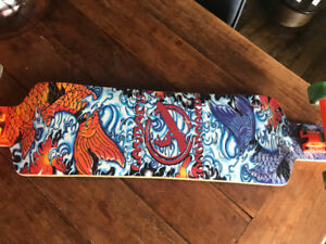 Layback Longboard with custom trucks and wheels