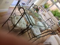 Glass Top Dining Table with Silver Enamelled Framework