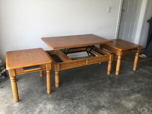 Lift top coffee table and matching end tables