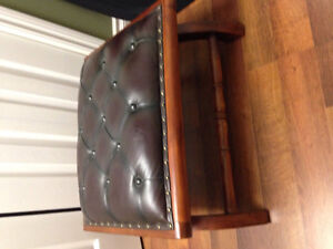 Antique style leather ottoman