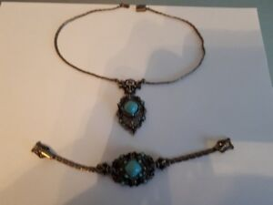 vintage turquoise bracelet and necklace set