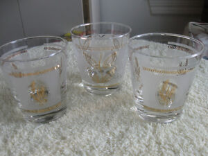 SET of THREE DECORATIVE 3-IN. HEAVY-BOTTOMED DRINK GLASSES