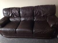 3 X 2 brown leather sofa