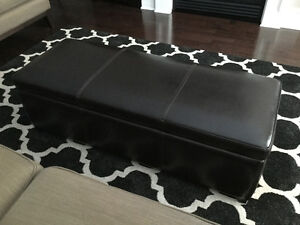 Quality Brown Leather Ottoman With Storage