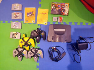 Nintendo 64 with 4 controllers and 4 games