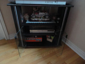 Wooden black/glass doors front TV stand media storage unit London Ontario image 4