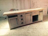 Kitchen island industrial counter server