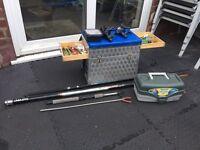 Fishing Seat Box, Rest, Pole, 2 Rods, Tackle Box, Floats, Bait Box, Reels & Bits