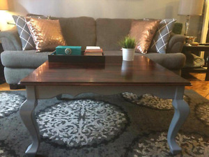 Rustic two toned coffee table