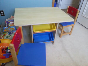 Kids table and chairs with 4 toy bins