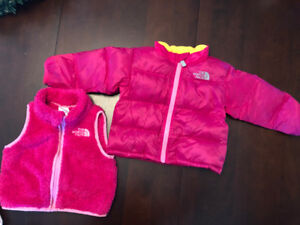 GREAT CONDITION:North Face Down Jacket & Fleece Vest 6-12 Months