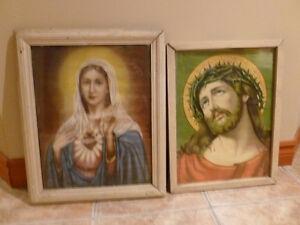 VINTAGE RELIGIOUS PICTURE& FRAME / CADRES RELIGIEUX ANTIQUES
