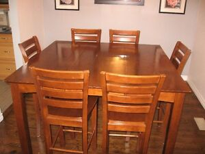 Solid Wood Pub Style Table with 6 Chairs