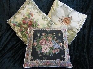 Jaquard-Tapestry 3 Decorative Down&Feather Cushion Pillows