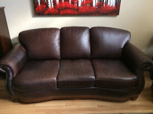 MOVING SALE - 3 Piece Leather Sofa, Loveseat and Chair Set