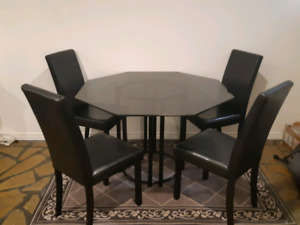 Black Glass Dining Table + Chairs