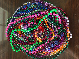 23 Mardi Gras beaded necklaces, plus a ring